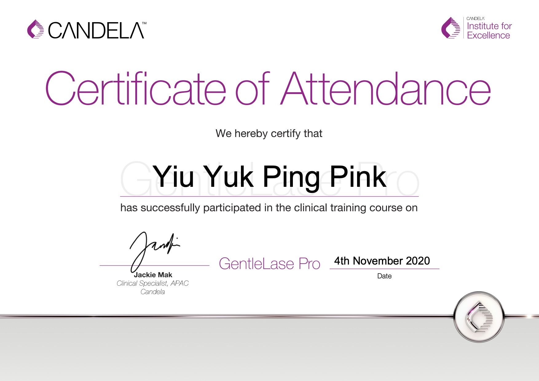 GentleLase_Pro_Certifcate_YiuYukPing(Yanis)