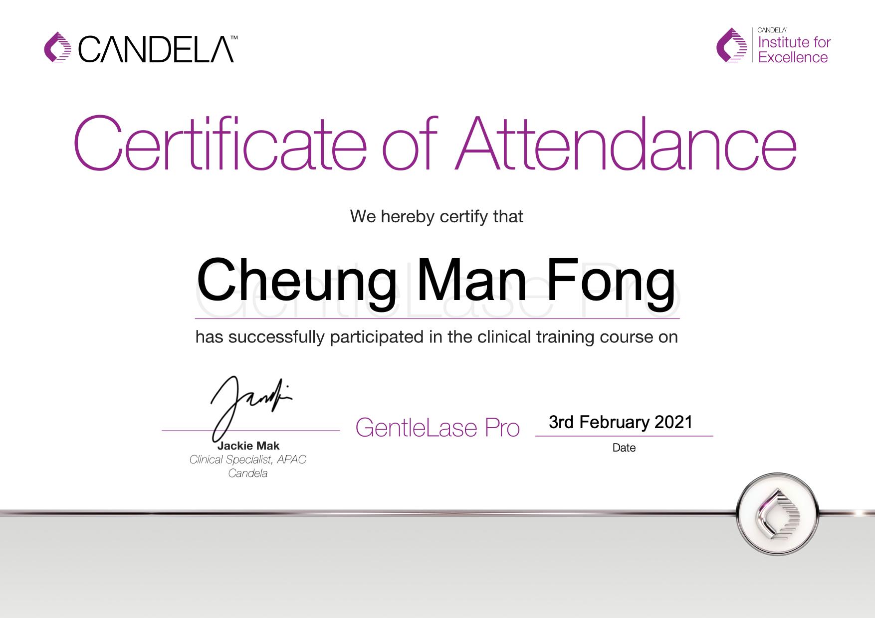 GentleLase_Pro_Certifcate_CheungManFongYanis