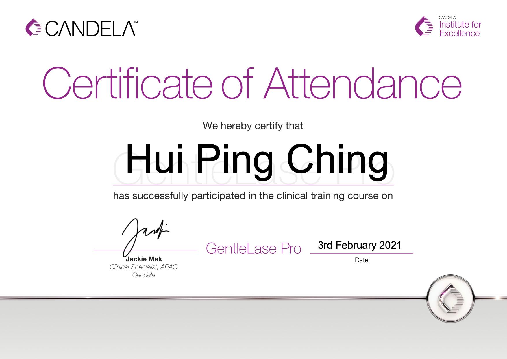 GentleLase_Pro_Certifcate_HuiPingChingYanis